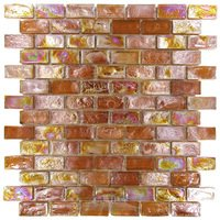 "Distinctive Glass Tile - Mosaic - Mosaic Brick Amber Iridescent 12"" x 12"" Film Faced Sheet"