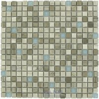 "Distinctive Glass Tile - Marble/Stainless Steel - Marble Mosaic 12"" x 12"" Mesh Backed Sheet in Gray Marble with Blue Rippled Glass"