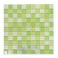 "Distinctive Glass Tile - Color Block - 1"" Color Block Key Lime Pie 12"" x 12"" Mesh Backed Sheet"