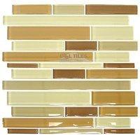 "Distinctive Glass Tile - Glass Stick - Glass Sticks Cocoa Mix 12"" x 12"" Mesh Backed Sheet"