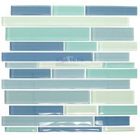 "Distinctive Glass Tile - Glass Stick - Glass Sticks Sky Mix 12"" x 12"" Mesh Backed Sheet"