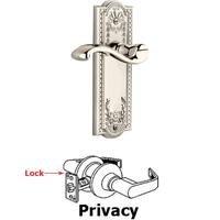 Grandeur Door Hardware - Parthenon - Privacy Parthenon Plate with Portofino Left Handed Lever in Satin Nickel