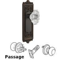 Grandeur Door Hardware - Windsor - Complete Privacy Set - Windsor Plate with Crystal Biarritz Knob in Satin Nickel