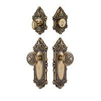 Grandeur Door Hardware - Grande Victorian - Handleset - Grande Victorian Plate With Windsor Knob & Matching Deadbolt In Satin Nickel