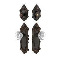 Grandeur Door Hardware - Grande Victorian - Handleset - Grande Victorian Plate With Chambord Crystal Knob & Matching Deadbolt In Satin Nickel