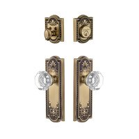 Grandeur Door Hardware - Parthenon - Parthenon Plate With Chambord Crystal Knob & Matching Deadbolt In Satin Nickel