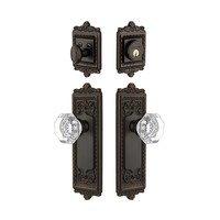 Grandeur Door Hardware - Windsor - Handleset - Windsor Plate With Chambord Crystal Knob & Matching Deadbolt In Timeless Bronze