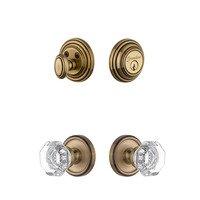Grandeur Door Hardware - Georgetown - Handleset - Georgetown Rosette With Chambord Crystal Knob & Matching Deadbolt In Vintage Brass