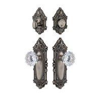 Grandeur Door Hardware - Grande Victorian - Handleset - Grande Victorian Plate With Fontainebleau Crystal Knob & Matching Deadbolt In Satin Nickel