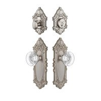 Grandeur Door Hardware - Grande Victorian - Handleset - Grande Victorian Plate With Bordeaux Crystal Knob & Matching Deadbolt In Satin Nickel