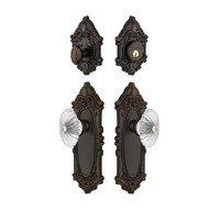 Grandeur Door Hardware - Grande Victorian - Handleset - Grande Victorian Plate With Burgundy Crystal Knob & Matching Deadbolt In Satin Nickel