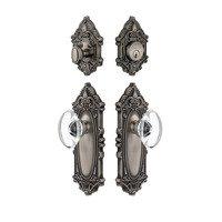 Grandeur Door Hardware - Grande Victorian - Handleset - Grande Victorian Plate With Provence Crystal Knob & Matching Deadbolt In Satin Nickel