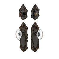 Grandeur Door Hardware - Grande Victorian - Handleset - Grande Victorian Plate With Provence Crystal Knob & Matching Deadbolt In Timeless Bronze