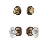 Grandeur Door Hardware - Newport - Handleset - Newport Rosette With Biarritz Crystal Knob & Matching Deadbolt In Satin Nickel