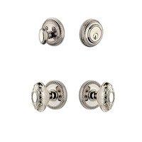 Grandeur Door Hardware - Newport - Newport Rosette With Grande Victorian Knob & Matching Deadbolt In Satin Nickel