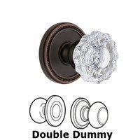 Grandeur Door Hardware - Soleil - Grandeur Soleil Rosette Double Dummy with Versailles Crystal Knob in Timeless Bronze
