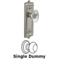 Grandeur Door Hardware - Windsor - Privacy Knob - Windsor Plate with Burgundy Crystal Knob in Satin Nickel