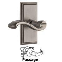Grandeur Door Hardware - Carre - Grandeur Carre Plate Passage with Portofino Lever in Antique Pewter