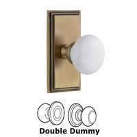 Grandeur Door Hardware - Carre - Carre Plate Double Dummy with Hyde Park White Porcelain Knob in Vintage Brass