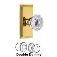 Grandeur Door Hardware - Carre - Grandeur Carre Plate Privacy with Fontainebleau Crystal Knob in Satin Nickel