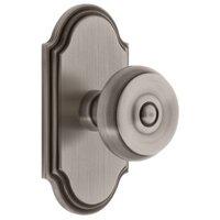 Grandeur Door Hardware - Arc - Grandeur Arc Plate Privacy with Bouton Knob in Satin Nickel