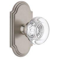 Grandeur Door Hardware - Arc - Grandeur Arc Plate Privacy with Bordeaux Crystal Knob in Satin Nickel