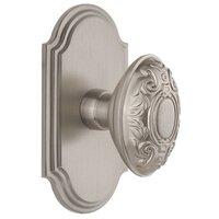 Grandeur Door Hardware - Arc - Grandeur Arc Plate Passage with Grande Victorian Knob in Satin Nickel