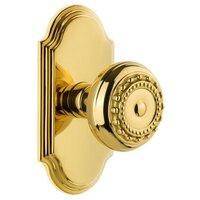 Grandeur Door Hardware - Arc - Grandeur Arc Plate Passage with Parthenon Knob in Polished Brass