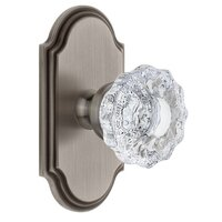 Grandeur Door Hardware - Arc - Grandeur Arc Plate Passage with Versailles Crystal Knob in Antique Pewter