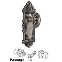 Grandeur Door Hardware - Grande Victorian - Privacy Knob - Grande Victorian Plate with Grande Victorian Door Knob in Satin Nickel
