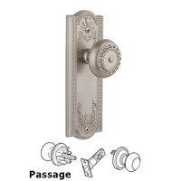 Grandeur Door Hardware - Parthenon - Privacy Knob - Parthenon Plate with Parthenon Door Knob in Satin Nickel