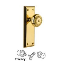 Grandeur Door Hardware - Fifth Avenue - Grandeur Fifth Avenue Plate Privacy with Parthenon Knob in Polished Brass