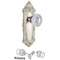 Grandeur Door Hardware - Grande Victorian - Privacy Knob - Grande Victorian Plate with Versailles Crystal Door Knob in Satin Nickel