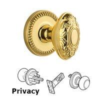 Grandeur Door Hardware - Newport - Privacy Knob - Newport Rosette with Grande Victorian Door Knob in Satin Nickel