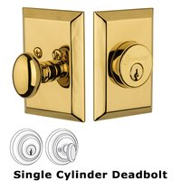 Grandeur Door Hardware - Fifth Avenue - Grandeur Single Cylinder Deadbolt with Fifth Avenue Plate in Lifetime Brass