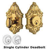 Grandeur Door Hardware - Grande Victorian - Grandeur Single Cylinder Deadbolt with Grande Victorian Plate in Timeless Bronze