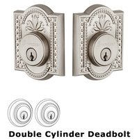 Grandeur Door Hardware - Parthenon - Grandeur Double Cylinder Deadbolt with Parthenon Plate in Satin Nickel