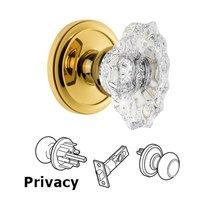 Grandeur Door Hardware - Circulaire - Grandeur Circulaire Rosette Privacy with Biarritz Crystal Knob in Satin Nickel