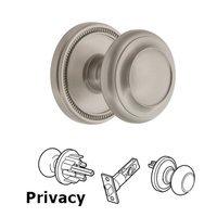 Grandeur Door Hardware - Soleil - Soleil Rosette Privacy with Circulaire Knob in Satin Nickel