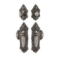 Grandeur Door Hardware - Grande Victorian - Handleset - Grande Victorian Plate Knob & Deadbolt Set In Satin Nickel