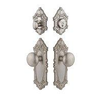 Grandeur Door Hardware - Grande Victorian - Handleset - Grande Victorian Plate With Fifth Avenue Knob & Matching Deadbolt In Satin Nickel