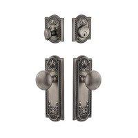 Grandeur Door Hardware - Parthenon - Parthenon Plate With Fifth Avenue Knob & Matching Deadbolt In Satin Nickel