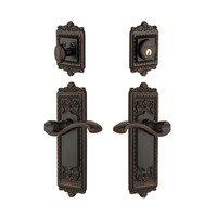 Grandeur Door Hardware - Windsor - Handleset - Windsor Plate With Portfino Lever & Matching Deadbolt In Timeless Bronze