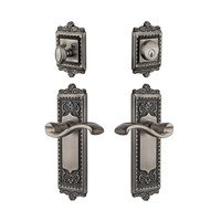 Grandeur Door Hardware - Windsor - Windsor Plate With Portfino Lever & Matching Deadbolt In Satin Nickel