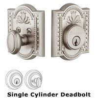 Grandeur Door Hardware - Parthenon - Grandeur Single Cylinder Deadbolt with Parthenon Plate in Satin Nickel