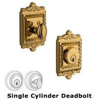 Grandeur Door Hardware - Windsor - Grandeur Single Cylinder Deadbolt with Windsor Plate in Timeless Bronze