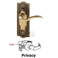 Grandeur Door Hardware - Parthenon - Privacy Parthenon Plate with Bellagio Left Handed Lever in Satin Nickel
