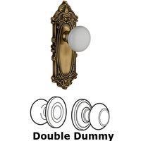 Grandeur Door Hardware - Grande Victorian - Privacy Knob - Grande Victorian Rosette with Hyde Park White Porcelain Knob in Satin Nickel