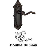 Grandeur Door Hardware - Grande Victorian - Double Dummy Lever - Grande Victorian Plate with Portofino Door Lever in Timeless Bronze