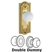 Grandeur Door Hardware - Parthenon - Privacy Knob - Parthenon Plate with Hyde Park White Porcelain Knob in Satin Nickel